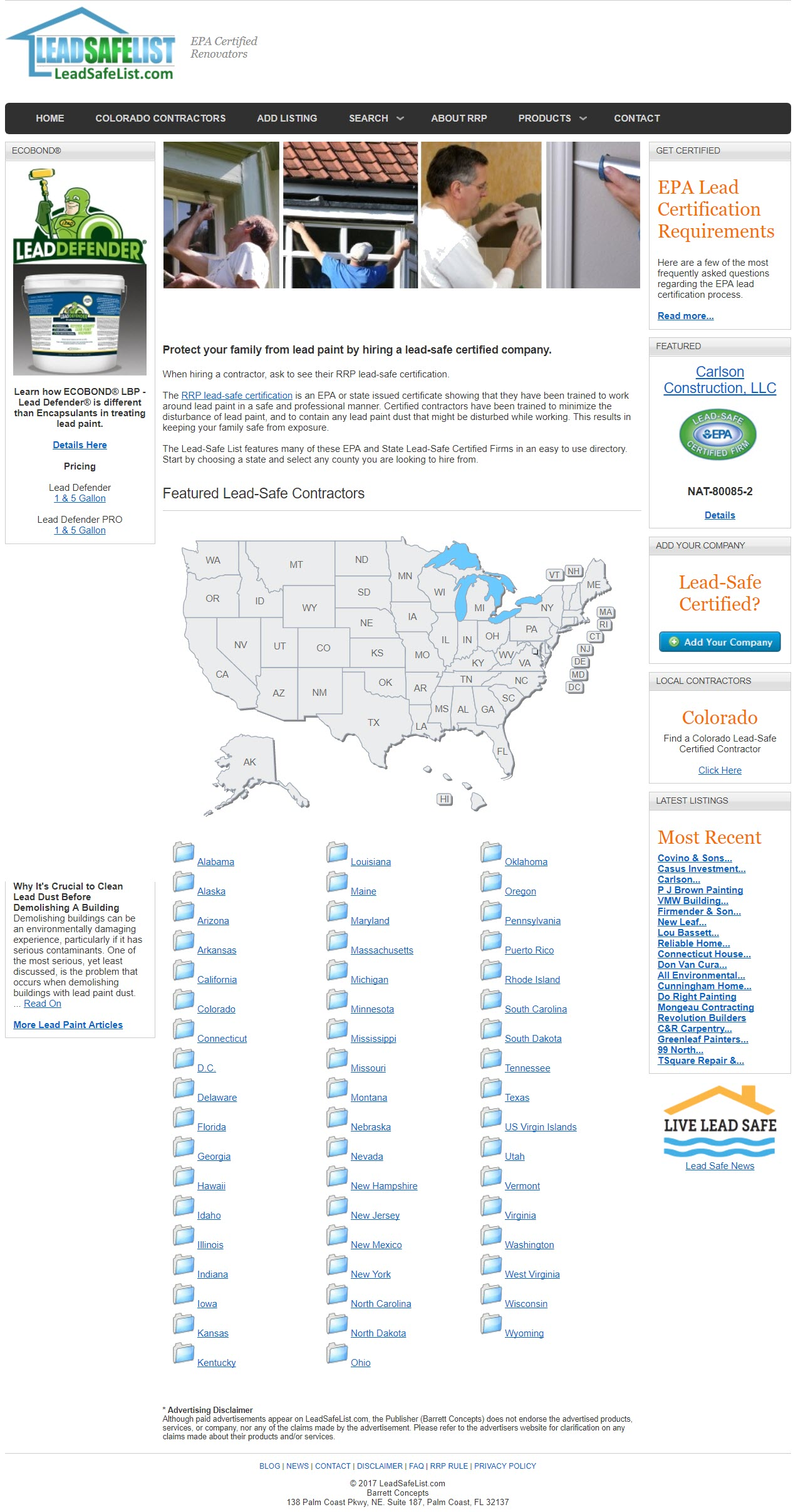 RRP Contractors by State LEad Safe List image