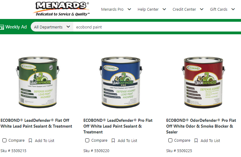 Menards listing ECOBOND LeadDefender Removing Lead Based Paint