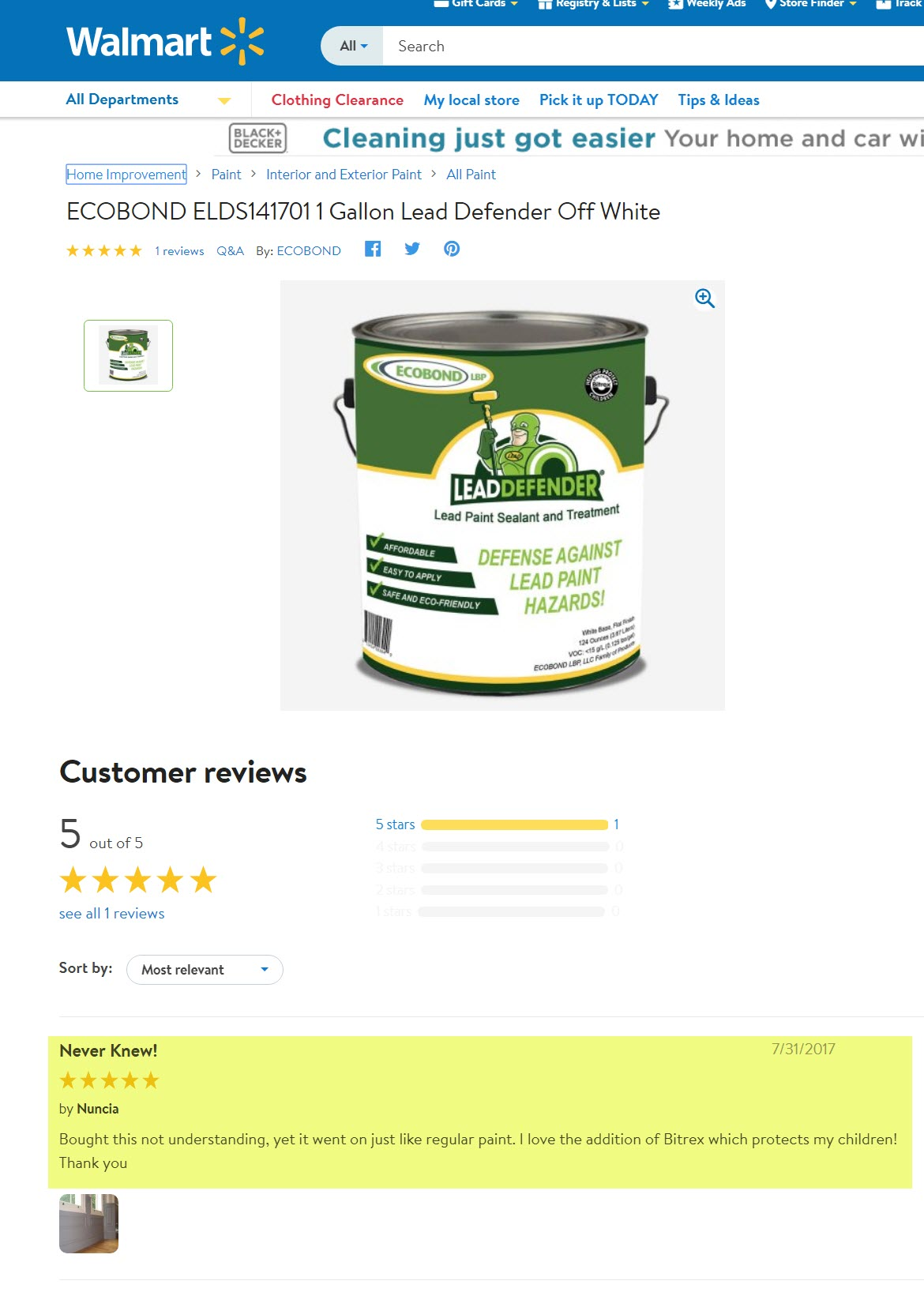 Lead paint removal Walmart review  Sept 2017 updated